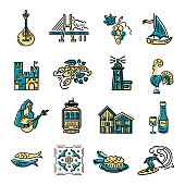 Vector icons set of Portugal symbols.