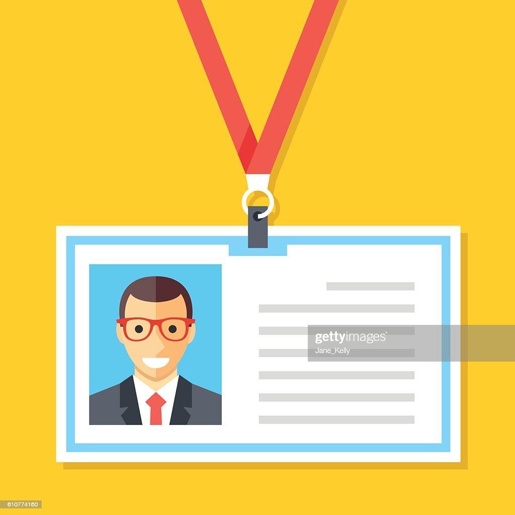 Vector ID card with man photo. Identification card, lanyard, badge