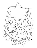 vector illustartion for coloring book. Little baby Jesus lies in the manger under the Christmas star