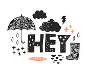 Vector illustation. Greeting with clouds, rain and umbrella.