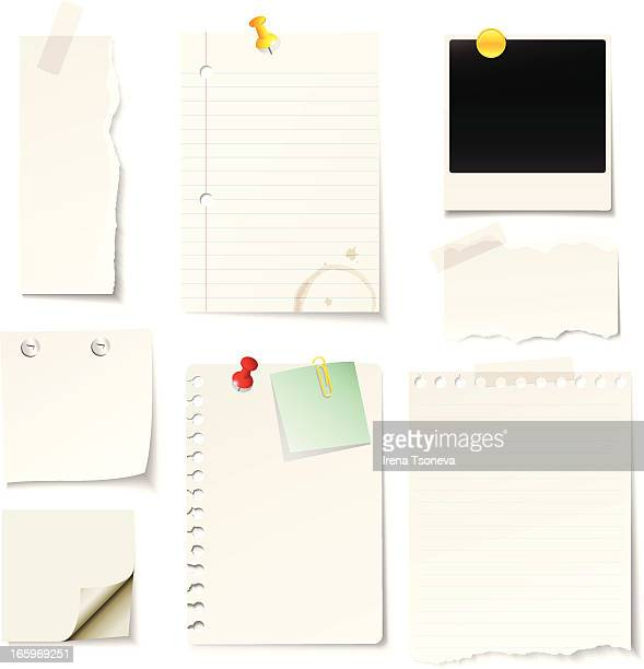 A vector illustrated blank notes and paper design