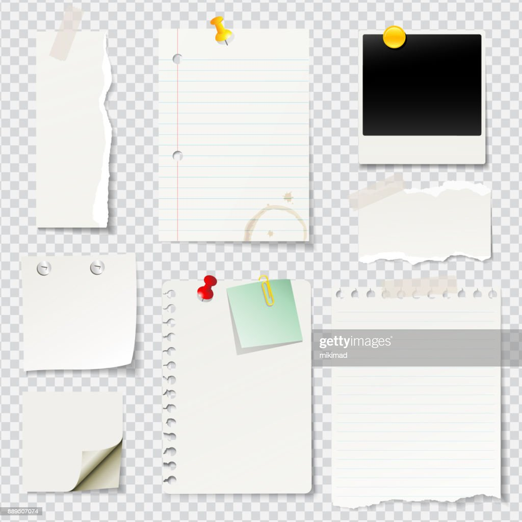 Vector illustrated blank notes and papers : stock illustration
