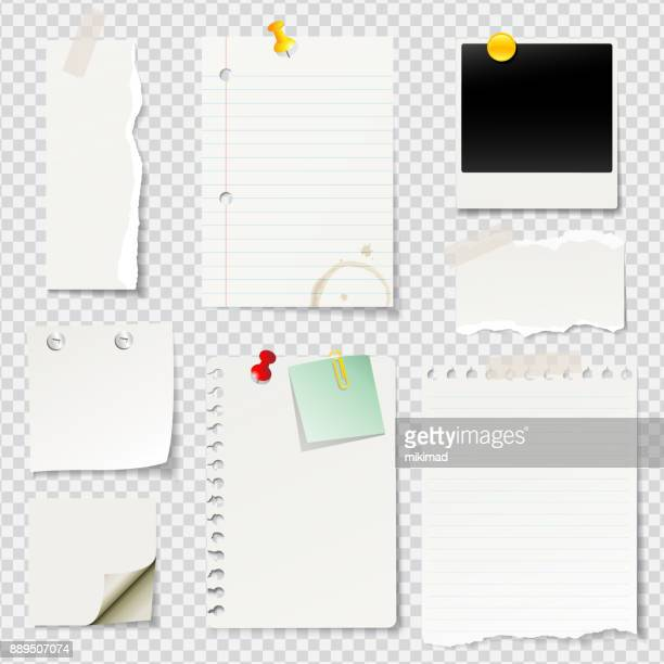 vector illustrated blank notes and papers - list stock illustrations, clip art, cartoons, & icons