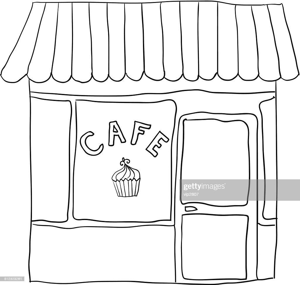 vector illustrated cute street cafe