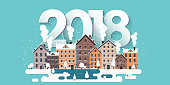 Vector illustration. 2018 winter urban landscape. City with snow. Christmas and new year. Cityscape. Buildings