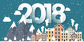 Vector illustration. 2018 winter urban landscape. City with snow. Christmas and new year. Cityscape. Buildings.Mountaines, nature