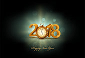 Vector illustration. 3d gold digits 2018, with an old clock instead of zero on a dark background . Vintage holiday background for the new year. Element for the design of a greeting card for New Year