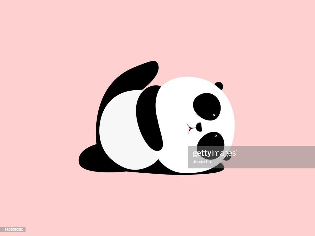 Vector Illustration: A cute cartoon giant panda is doing yoga, lying down and raising one leg