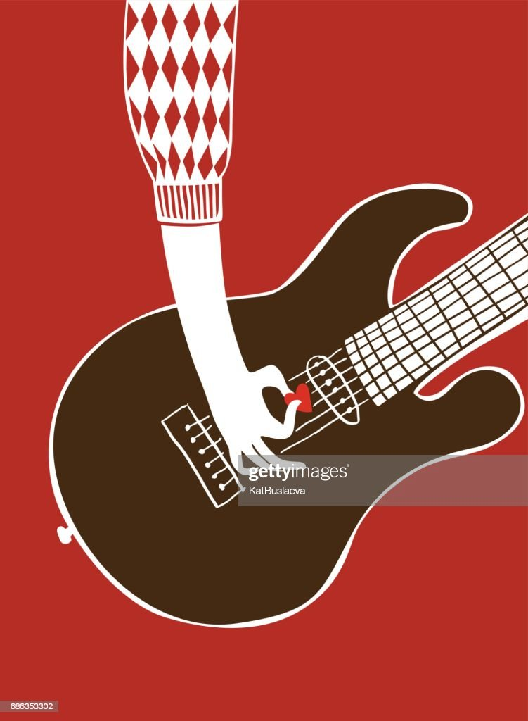 Vector illustration. A man's hand plays guitar with a mediator in the form of a heart for poster or card