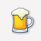 Vector illustration. A mug of beer with foam. Glass of alcohol drink. Classic foam drink of pubs and bars. Sticker in cartoon style with contour. Isolated on white background