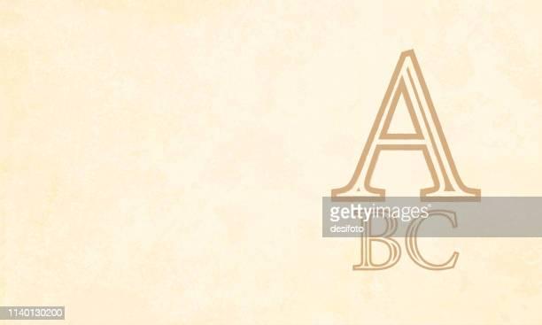 stockillustraties, clipart, cartoons en iconen met vector illustratie-abc, a b c, alfabetten a, b en c geschreven in bruine kleur over een beige gekleurde grunge effect achtergrond - letter b