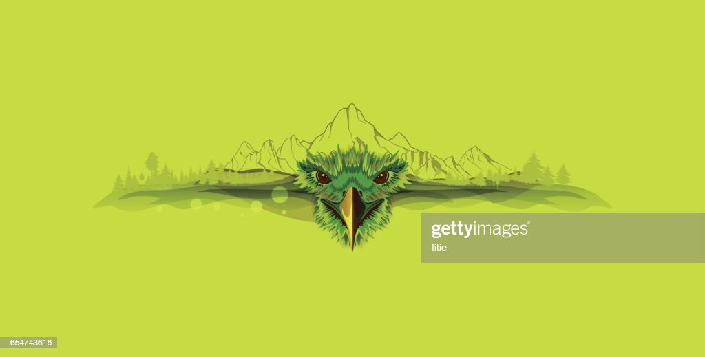 Vector Illustration about eagle and mountains