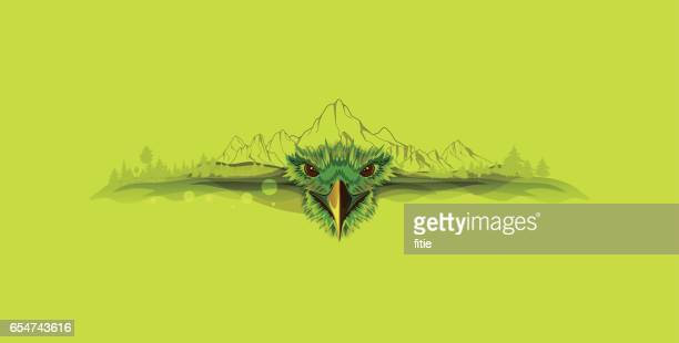 Illustration vectorielle sur eagle et montagnes