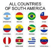 Vector illustration all flags of South America. All countries of South America, round shape flags.