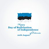 vector illustration August 20th Estonia's Restoration of Independence Day.