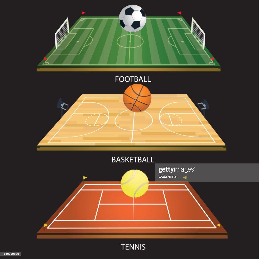vector illustration background tennis field 3D tennis ball