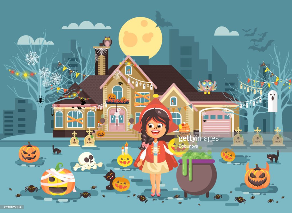 Vector illustration banner brochure cartoon character child Trick-or-Treat, girl costume fancy dresses Little Red Riding Hood cauldron celebrate holiday party Happy Halloween pumpkins flat style
