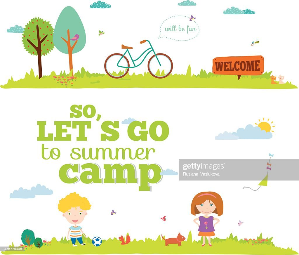 Vector illustration banners for tourism or camp with kids