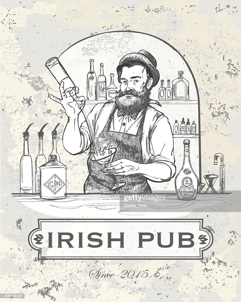 Vector illustration - Barman in work