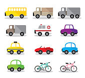vector illustration beside model many car, bus, truck, bike, ambulance and taxi on white background.