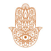 Vector illustration. Black and white coloring with hamsa