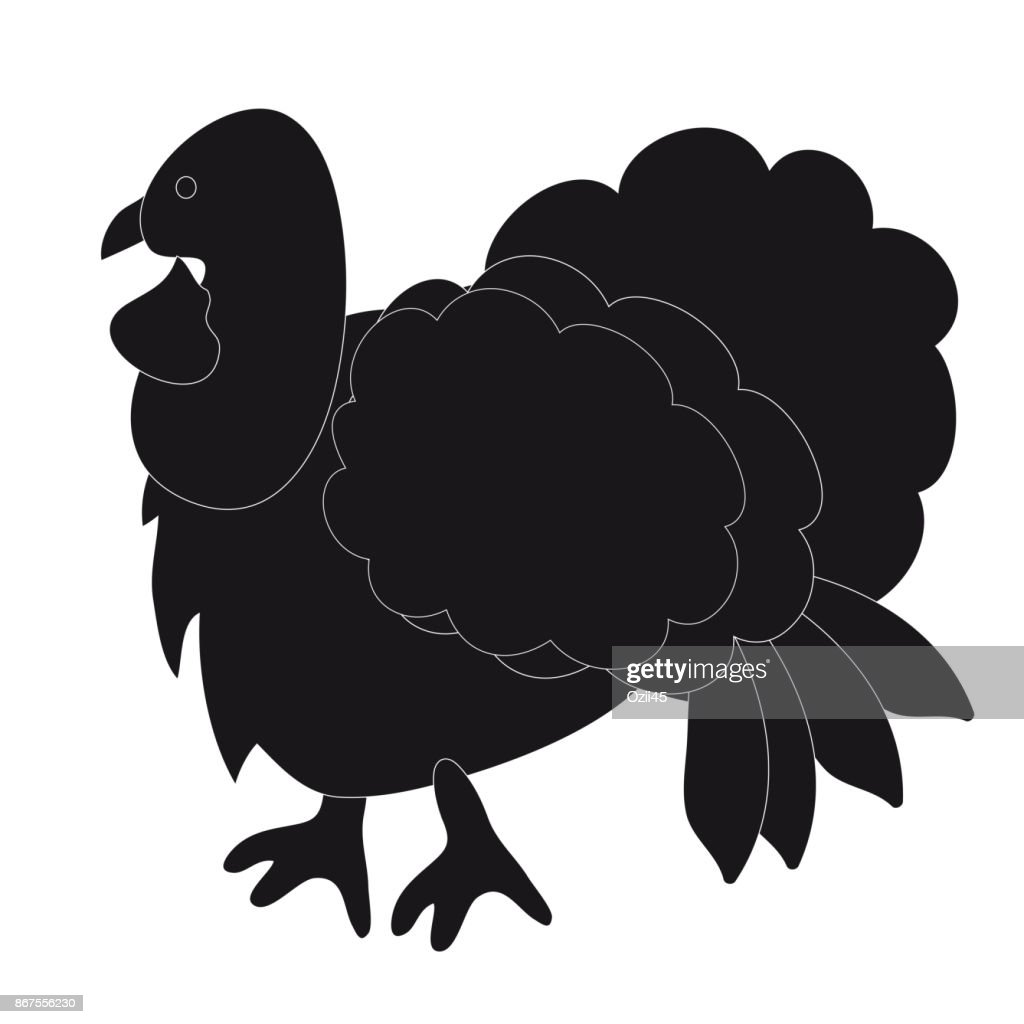Vector illustration. Black silhouette of a Turkey on a white background.