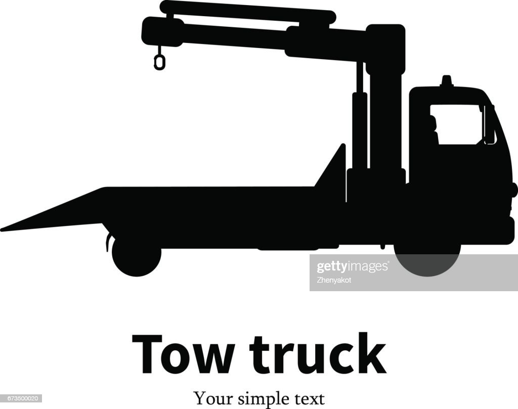 Vector illustration black silhouette of tow truck