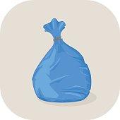 Vector illustration Blue plastic garbage big icon.