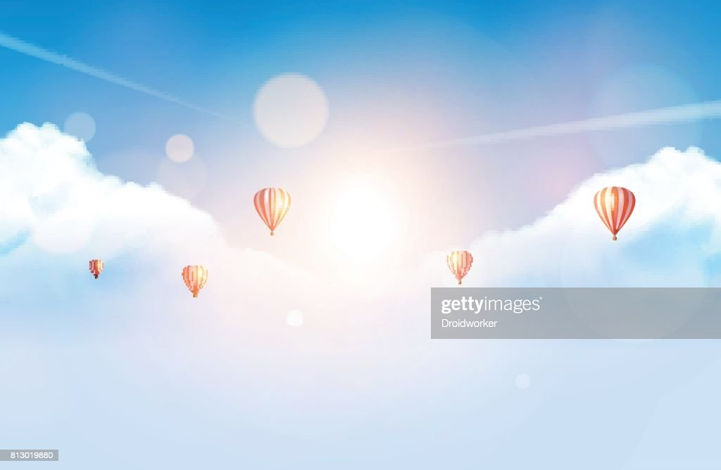 Vector Illustration - Bokeh Cloudy Sky Background / Wallpaper with Hot Air Balloons