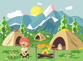 Vector illustration boy sings playing guitar, nature national park landscape, tents bonfire, chicken fried, snack, food, camping hiking daytime sunny day outdoor background mountains flat style