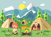 Vector illustration boy sings playing guitar nature national park landscape girl in tent bonfire chicken fried snack food camping hiking daytime sunny day outdoor background mountains flat style
