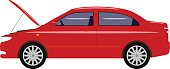 Vector illustration cartoon car with an open hood