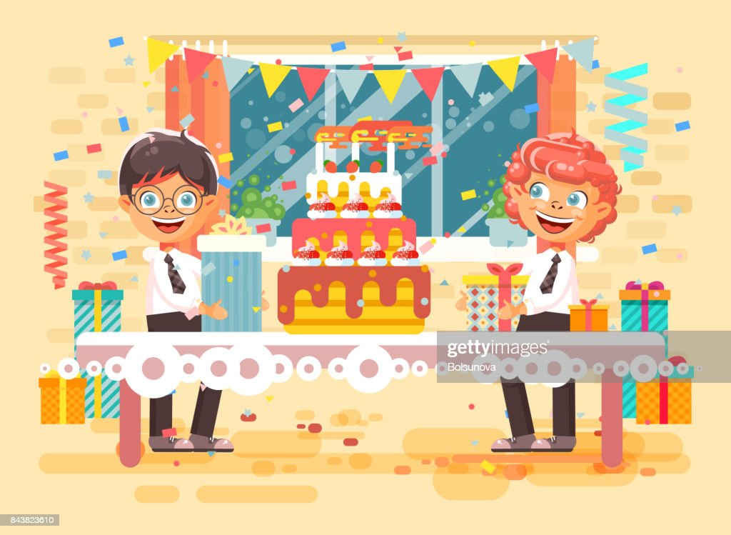 Vector Illustration Cartoon Character Children Two Friends Boys