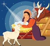 Vector Illustration - Christmas Christian nativity scene with baby Jesus