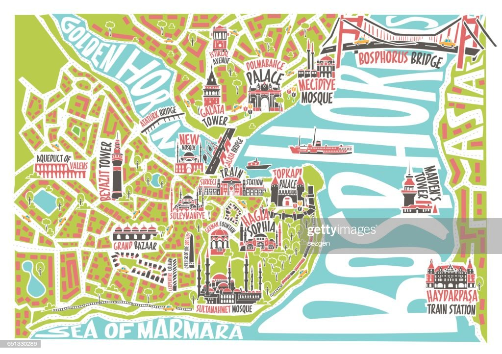 Vector illustration colored istanbul map with famous landmarks
