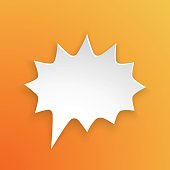 Vector illustration. Comic speech bubble for scream at rounded barbed shape in paper version. Empty shape in flat style for chat dialogs. Isolated on orange background
