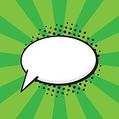 Vector illustration. Comic speech bubble of talk oval shape in pop art style. Empty element with contour for your dialogs. Isolated on green background with rays