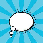 Vector illustration. Comic speech bubble of thoughts oval shape in pop art style. Empty element with contour for your dialogs. Isolated on turquoise background with rays