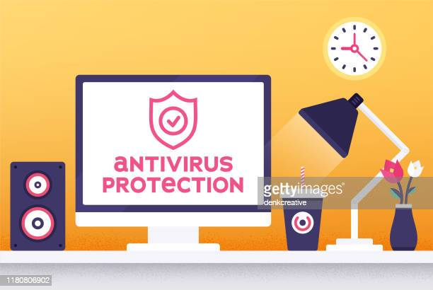 vector illustration concept for antivirus end-point protection - antivirus software stock illustrations