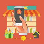 Vector illustration concept for grocery delivery