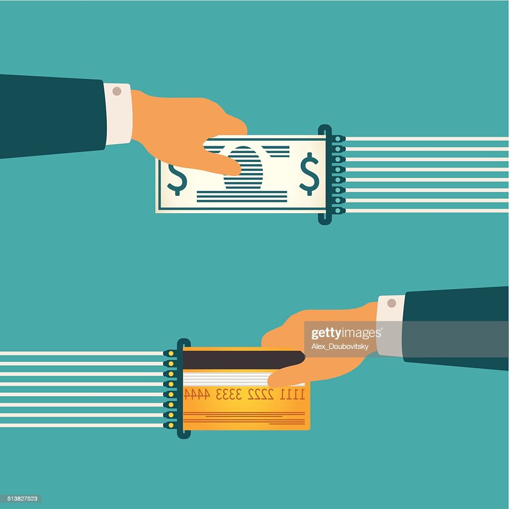 Vector illustration concept of cash and non-cash money circulation