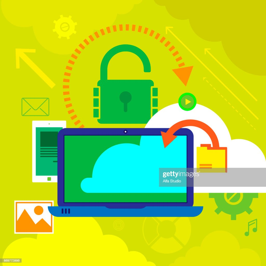 Vector illustration concepts for data protection,and internet security. Concepts for web banners .