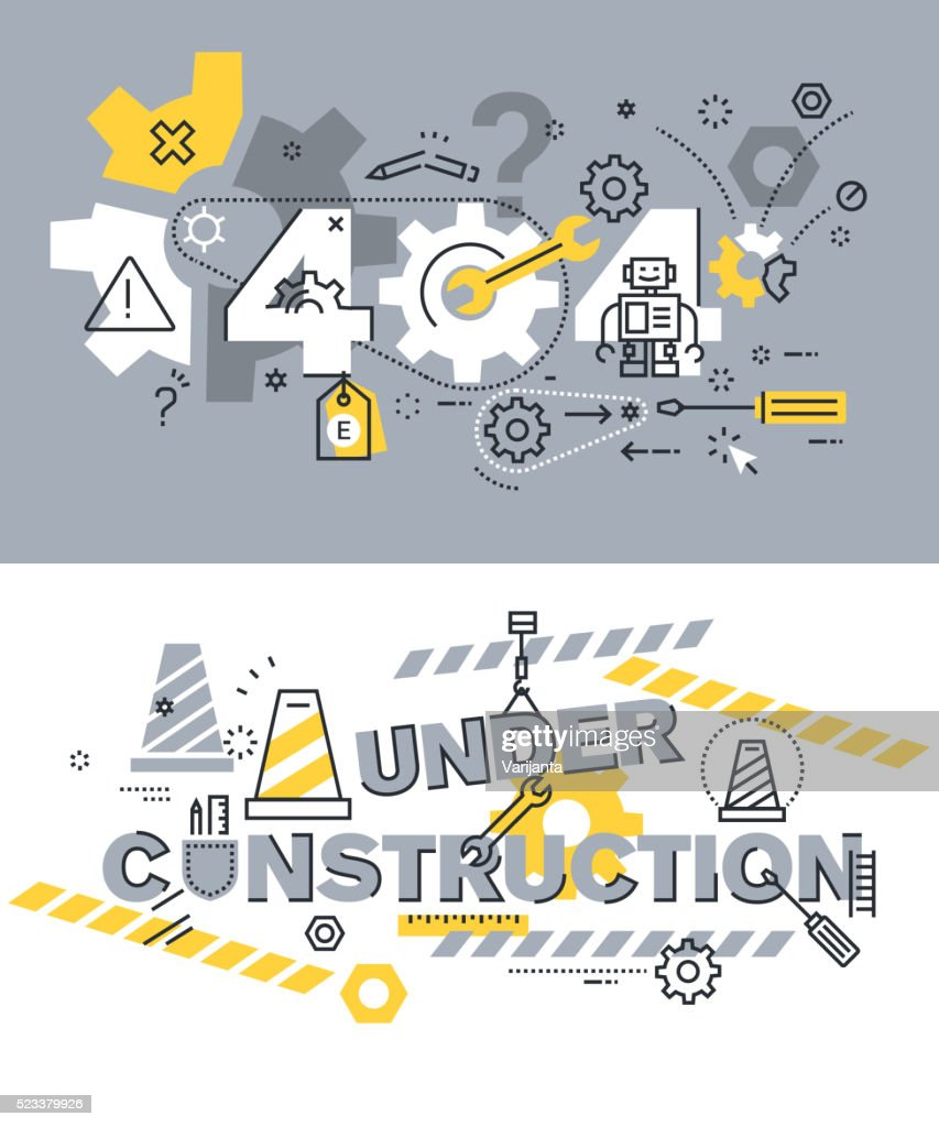 Vector illustration concepts of terms 404 and under construction