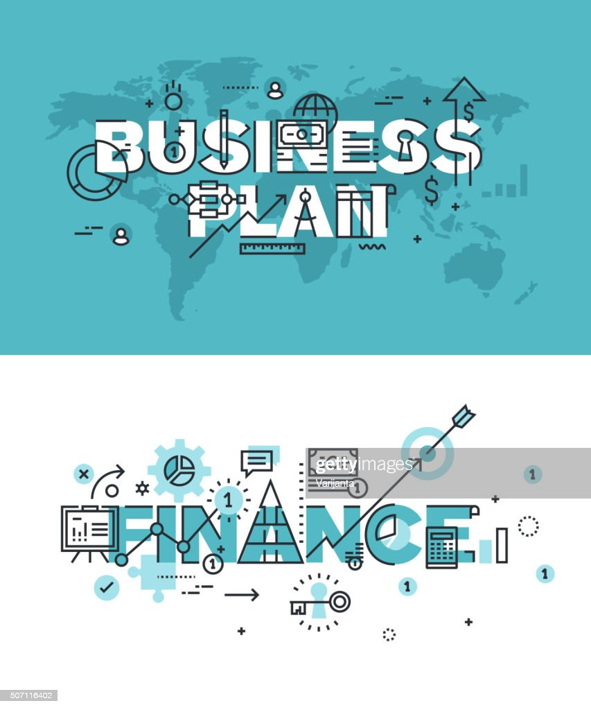 Vector illustration concepts of words business plan and finance