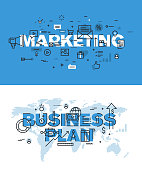 Vector illustration concepts of words marketing and business plan