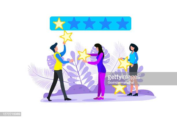 vector illustration, customer reviews rating, different people give a review rating and feedback, support for business satisfaction. - point scoring stock illustrations