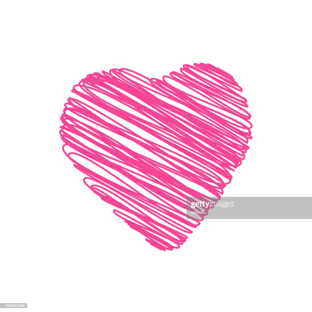 Vector Illustration.  Doodle hand drawn heart shaped on white background