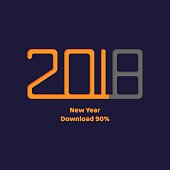 vector illustration. download. New year 2018. orange flat text a