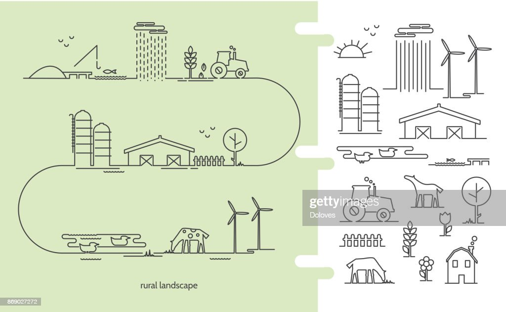 Vector illustration ecology farm infographic with icons thin lines style.