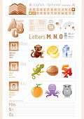 Vector illustration. English alphabet icons. Letters M, N, O infographics